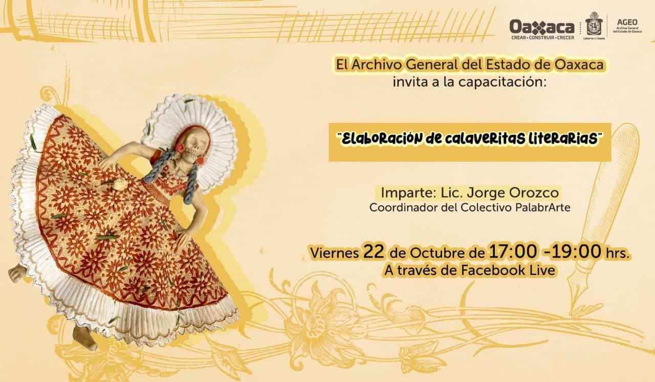 Invita el AGEO a elaborar calaveritas literarias, este viernes 22 de octubre
