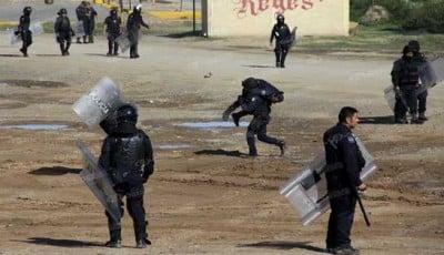 Policías heridos, saldo de la batalla en Nochixtlán. Fotoes.mx